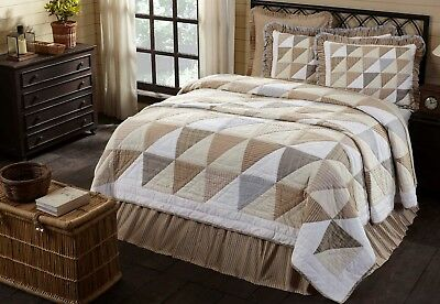 JOANNA Queen Quilt Farmhouse Patchwork Stripe Check Plaid Creme/Tan/Blue Country