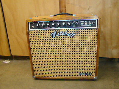 Vintage amp Mitchell Pro-100 guitar amplifier wood body great working condition
