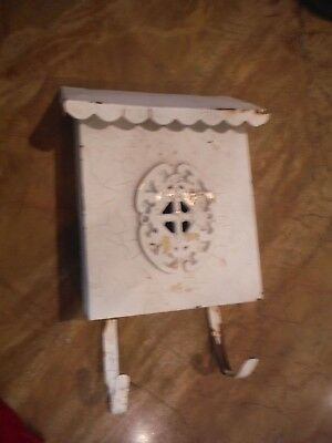 VINTAGE METAL WALL MOUNT MAIL BOX SHABBY with NEWSPAPER HOLDER