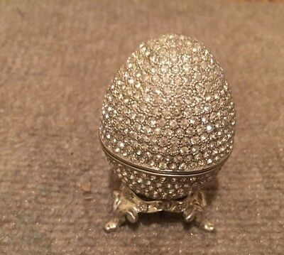 Russian Style Faberge Egg Proposal Wedding Ring Holder, Silver Plated
