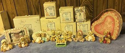 Cherished Teddies 9 Heart Valentine'S Day Themed Bear Figures And Photo Frame