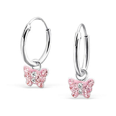 925 Sterling Silver Crystal Rose Pink Butterfly Sleeper Hoop Earring Kids Girl