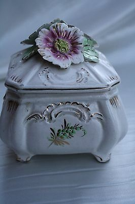 1930's Italy Porcelain Flower Box