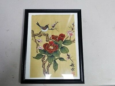 "Unique rare Asian 15"" x 12"" Framed bird & flowers painting on textile."