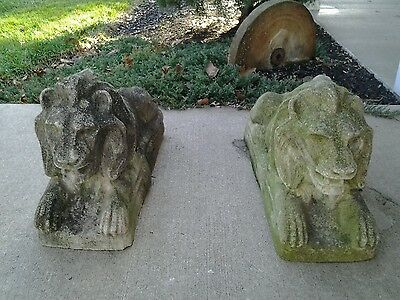 Impressive Large Pair Of Vintage Outdoor Cement Lions Great Patina Sale