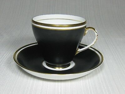 Royal Grafton Bone China Cup and Saucer Black Rim Gold Rings and Trim