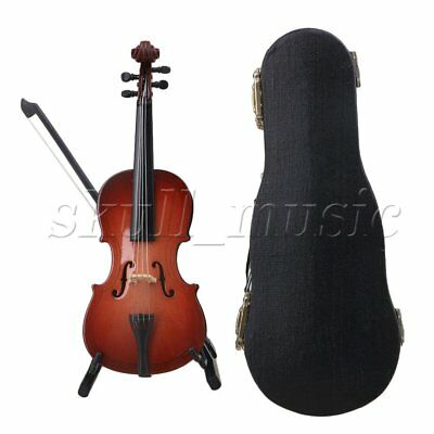 Resin Mini Cello Model with Stand Musical Instrument Replica Ornaments