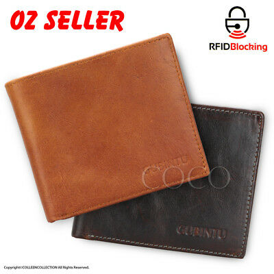 Genuine Leather Mens Purse Bifold Credit Card Wallet RFID Blocking Anti Scan