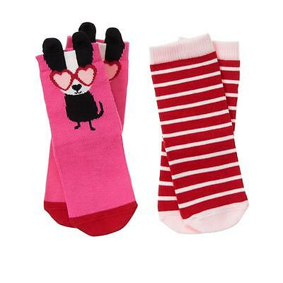 GYMBOREE COZY VALENTINE BOSTON TERRIER 2pr OF GIRLS SOCKS NWT  4T-5T