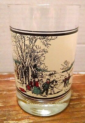 VINTAGE CURRIER & IVES GLASS Winter Pasttime Arby's Collector 1978ves glassassby
