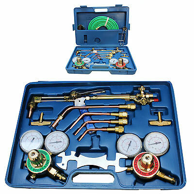 17 Pc Welding & Cutting Outfit Kit Oxy Acetylene Welding Gas Oxygen Regulator