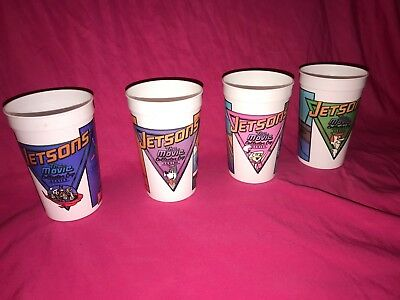 1990 Wendys The Jetsons Movie Set of 4 Cups