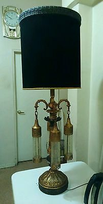 Rare Vintage Cast Iron Medieval Gothic Lamp Light Fixture Candelabra !!
