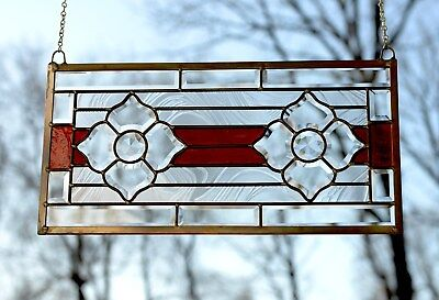 """Handcrafted stained glass Clear Beveled window panel , 22"""" x 11"""""""