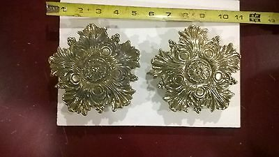 "Set of 2 HUGE antique ornate solid brass 5"" STUNNING door pulls  handle hardware"
