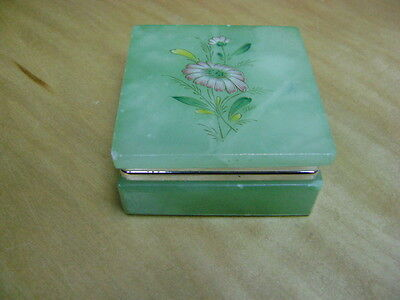 Hand Carved Alabaster Trinket Box w/ Daisy Floral Design on Lid  Made in Italy