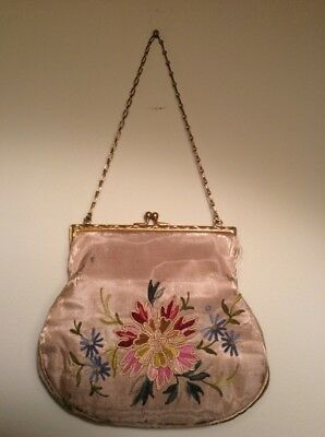 Antique VTG French Floral Embroidered Small Beige Silk Purse Evening Handbag