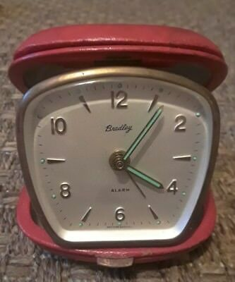 Vintage Bradley Wind up Travel Alarm Clock with Red leather case, West Germany