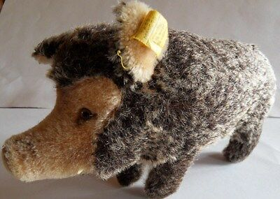 Steiff boar wild boar pig  mohair    button flag  made in Germany 1152