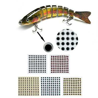 100Pcs 3-9mm Fish Eyes 3D Holographic Lure Eyes Fly Tying Jigs Crafts Dolls Well