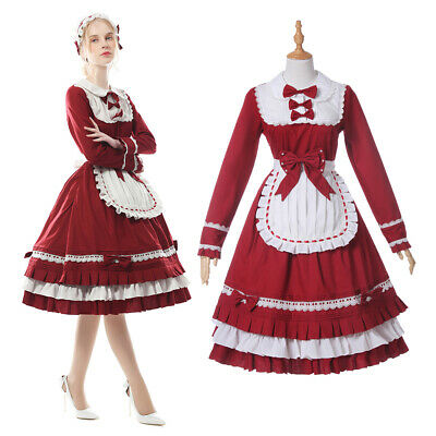 Sweet Lolita Red Lace Ruffle Party Dress OP Maid Cosplay Costume Free Headband