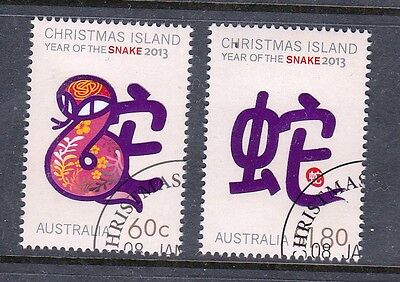 2013 Christmas Island Stamps - Year of the Snake - CTO Set of 2