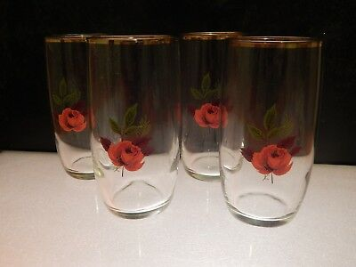 4 Vintage glass tumblers with red rose pattern