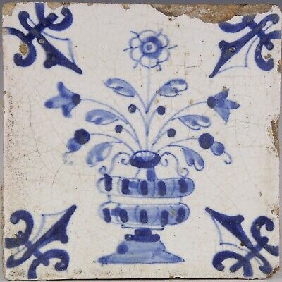 Nice Dutch Delft Blue tile, flower vase, first half 17th. century.