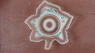 Antique LE Smith Hand Painted Clear Hobnail Maple Leaf Plate