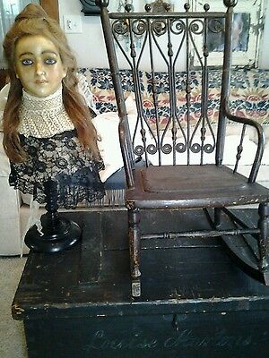 Fabulous Antique Victorian Childs Rocking Chair Stick Ball Design