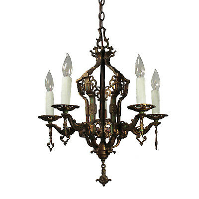 Antique Spanish Revival Chandelier by Halcolite, Cast Bronze, NC2978