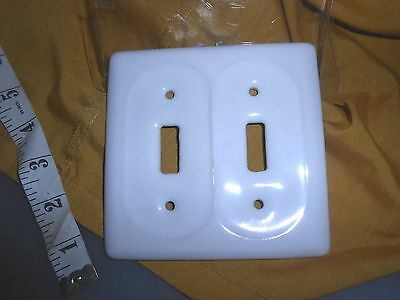 NEW CERAMIC off white beige DOUBLE  LIGHT SWITCH Cover Plate TUSCAN