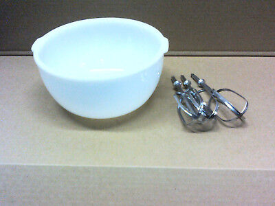 Old Antique Vintage Sunbeam milk glass white mixer bowl and beater