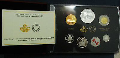 2015 Canadian silver dollar proof set. 50th ann. of the Canadian flag.  Gorgeous