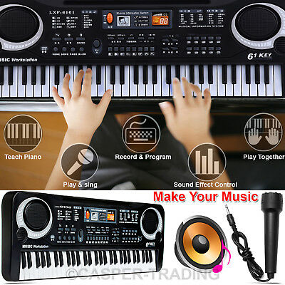 61 Keys Digital Electronic Music Keyboard & Microphone Electric LED Piano Organ
