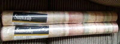 Lot Of 2 Double Rolls Sunworthy Striped Pattern Prepasted Vinyl Wallpaper 192148
