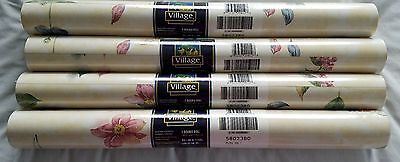 4 Double Rolls Village Vinyl Prepasted Wallpaper Flowers Grapes Leaves 5802380