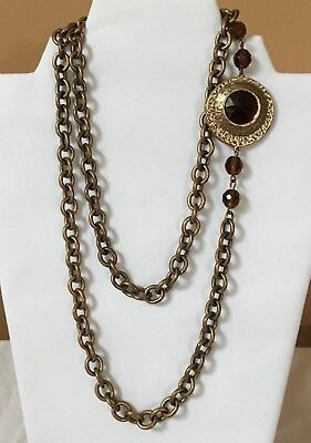 Brass Color Metal Large Chain w/ Root Beer Cabochon Medallion Vintage Necklace