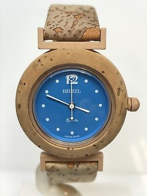 Breil Watch Swiss Made Vintage Cork 1 5/16in Blue Discounted New