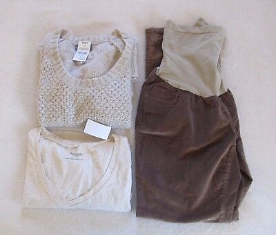 3 Piece Bundle Motherhood Maternity Sweater Long Sleeve Top Corduroy Pants Lot