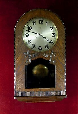 Antique Junghans Oak German Wall Clock Arch Beveled Glass