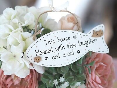 Wooden Fish Shaped Cat Plaque This House is Blessed With Love And A Cat Gift