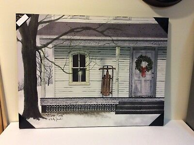 """New Radiance Lighted Canvas """"Winter Porch"""" by Billy Jacobs Wall Decor - 24"""" x 32"""