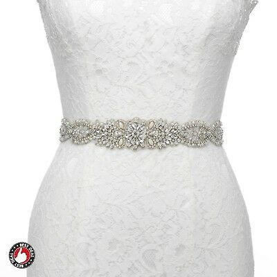 Thin Rhinestone Bridal Belt Unique Wedding Dress Applique Sash Beaded Jeweled