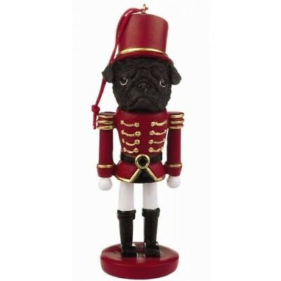 Pug Black Dog Toy Soldier Nutcracker Christmas Ornament