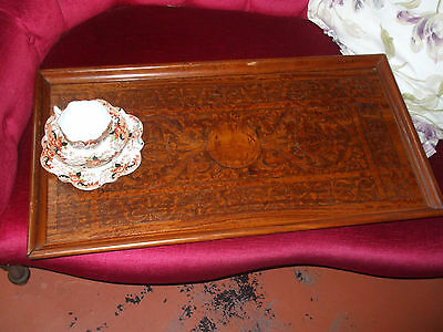 Large antique pokerwork butler's serving tray, very decorative, good colour