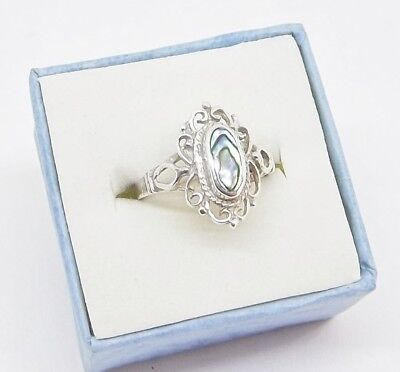 .925 Filigree Sterling Silver Ring -w- Beautiful Abalone Center Stone ... R123