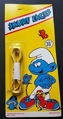 """Vintage Brand New In Package 1982 Peyo Smurf Shoe Laces 36""""  Yellow Blue"""