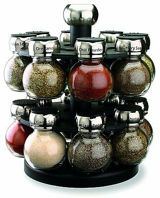 Spice Rack Lazy Susan 16 Glass Jar Labelled Orbit Rotating Carousel Herbs Spices