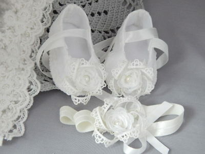 Baby shoes and headband set for baptism christening handmade ivory shoes Fdh